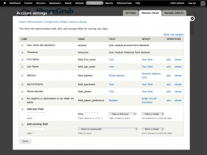Drupal User Manage Fields